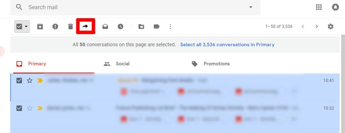 So leiten Sie mehrere E-Mails gleichzeitig in Google Mail mit Chrome - 4 weiter