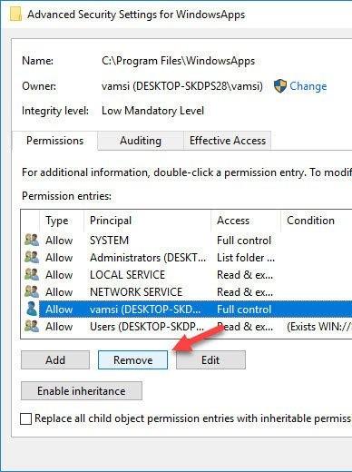 Wiederherstellen der TrustedInstaller-Eigentümerschaft für Systemdateien in Windows 10-3