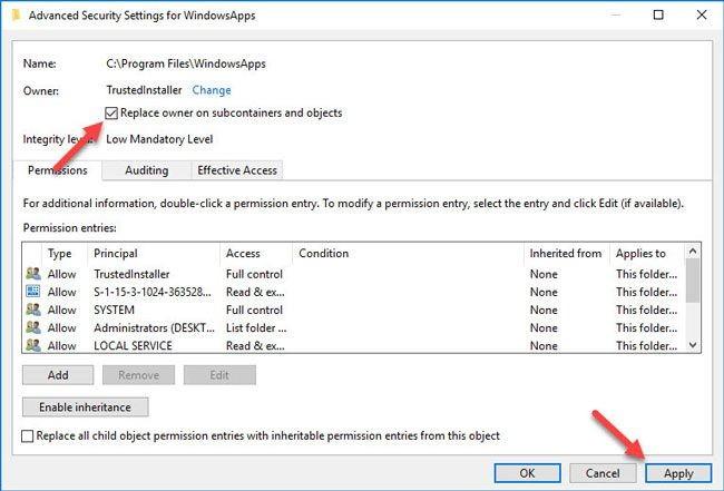 Wiederherstellen der TrustedInstaller-Eigentümerschaft für Systemdateien in Windows 10 - 7