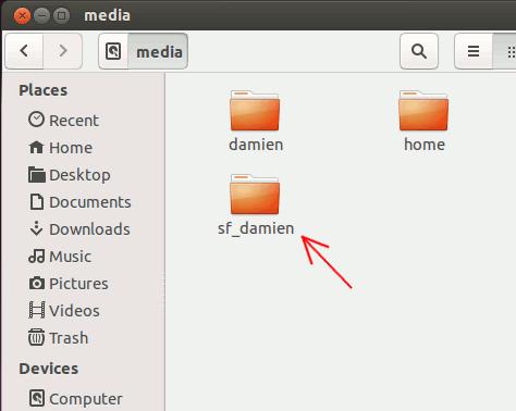 Zugriff auf den freigegebenen Ordner in VirtualBox mit Ubuntu Guest