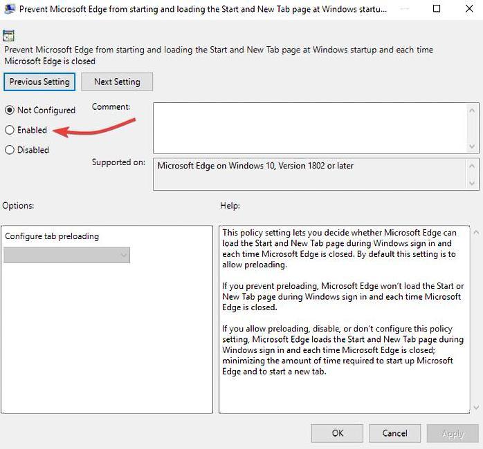 Deaktivieren Sie Microsoft Edge 10