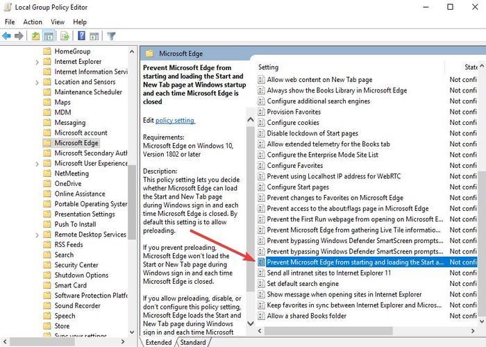 Deaktivieren Sie Microsoft Edge 9