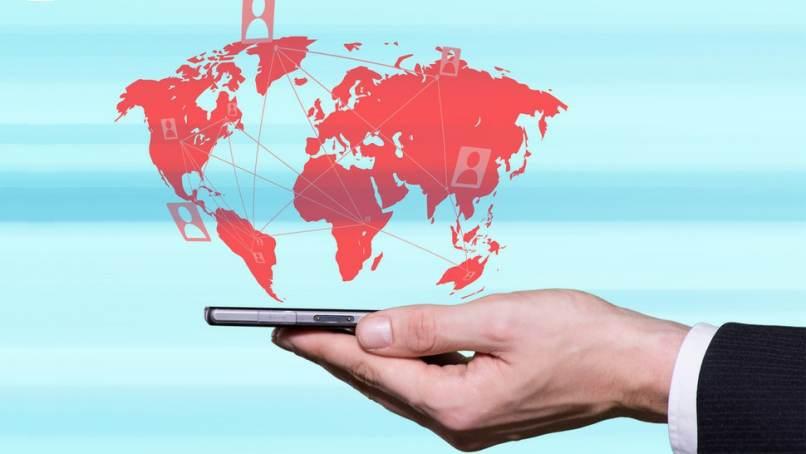 globale mobile Konnektivität der schwarzen Kontinente