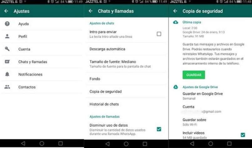 WhatsApp-Optionen rufen Informationen ab
