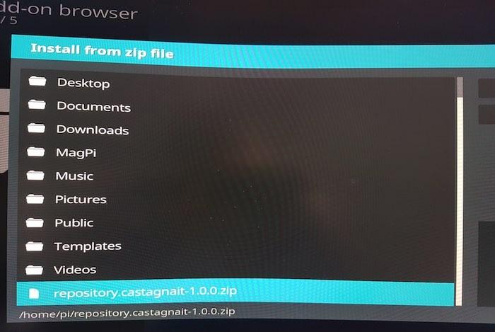 Jetzt können Sie das zuvor heruntergeladene Castagnait Kodi-Repository installieren