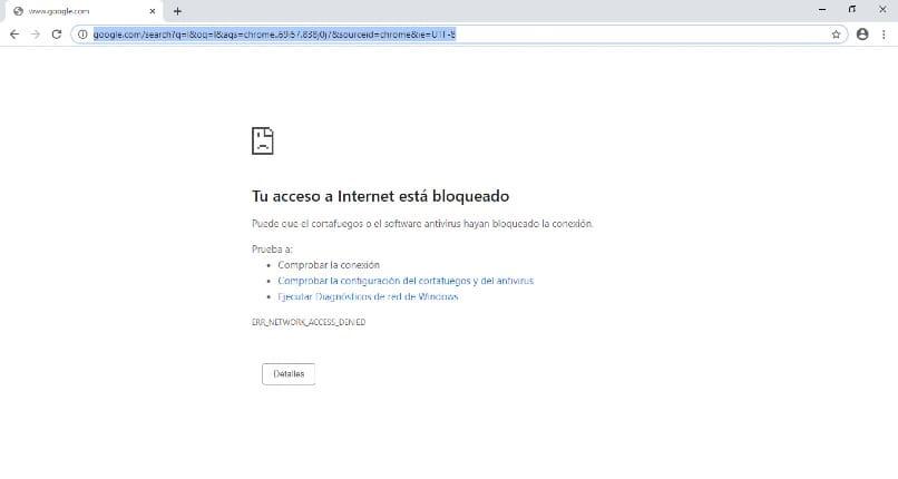Kein Zugriff zum Navigieren in Google Chrome
