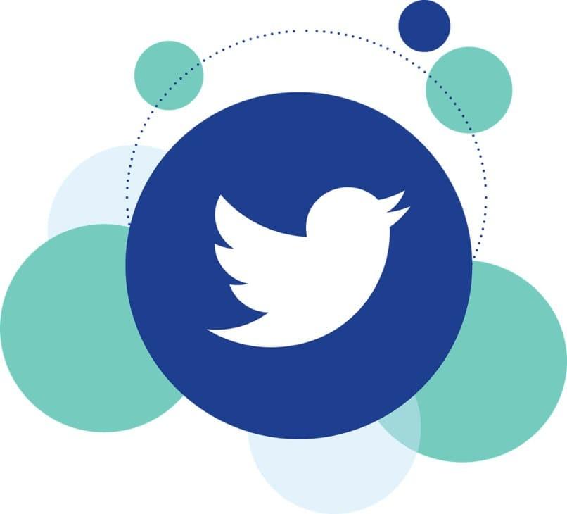 Twitter-Logo mit blauen Kugeln an den Seiten
