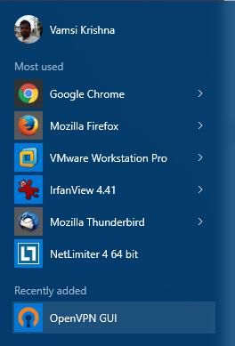 openvpn im Windows-Startmenü