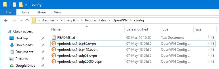 Speicherort der OpenVPN-Zertifikate