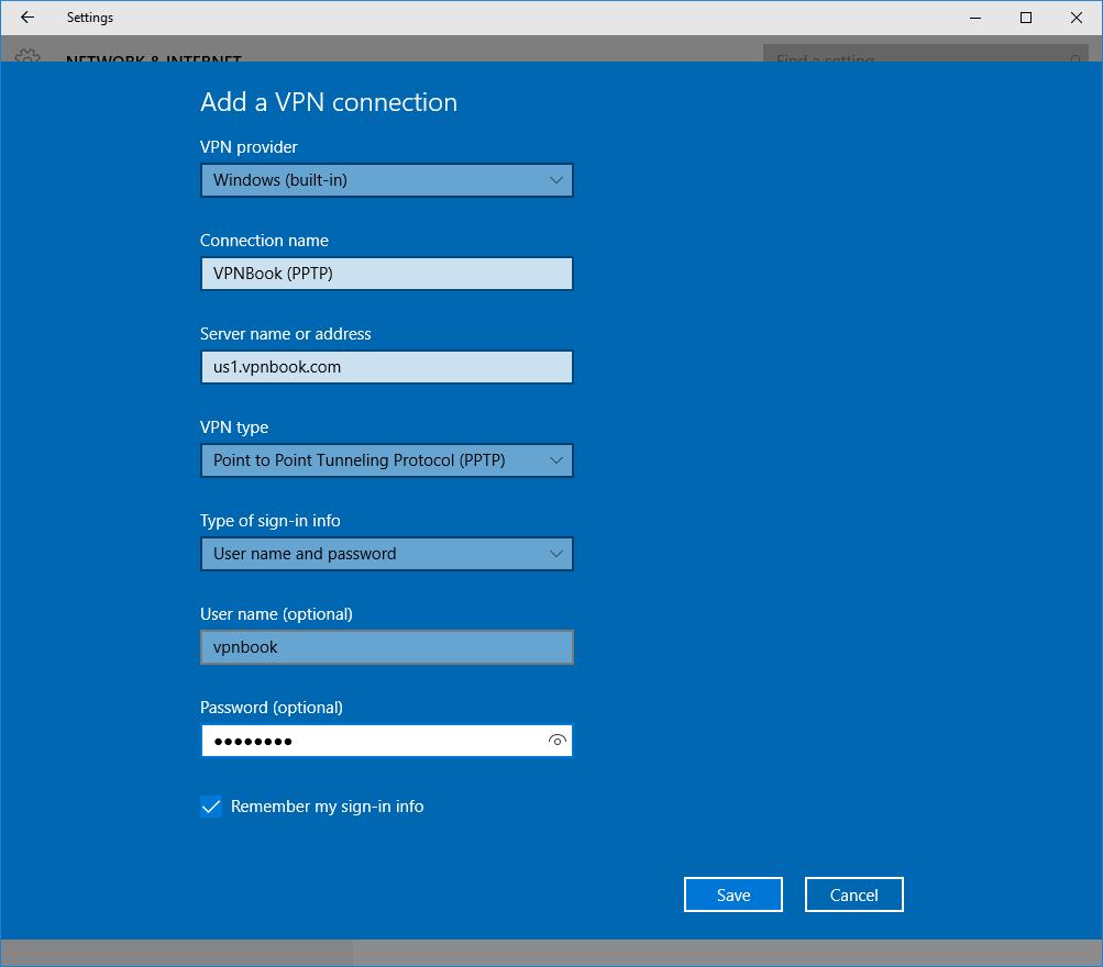 Geben Sie alle Daten von VPNBook unter Windows ein