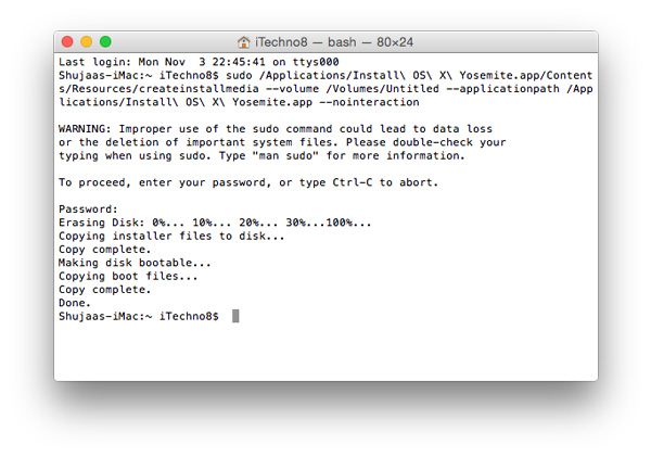 So machen Sie ein Yosemite OS X 10.10-Installationslaufwerk bootfähig