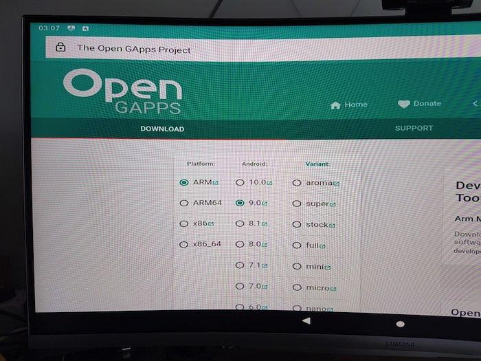 Laden Sie das GApps-Paket auf Ihren Raspberry Pi herunter