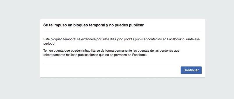 Facebook vorübergehende Sperrbenachrichtigung