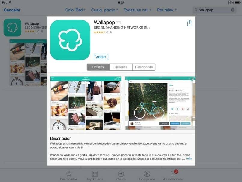 Registerkarte, um Wallapop auf das iPad herunterzuladen