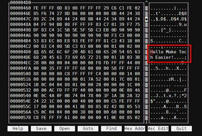 Verwenden eines Hex-Editors unter Linux
