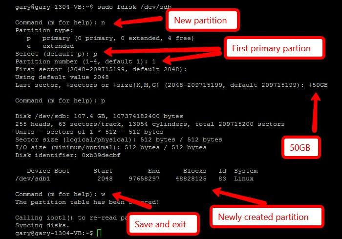 Verwalten Sie Festplattenpartitionen mit fdisk[Linux]