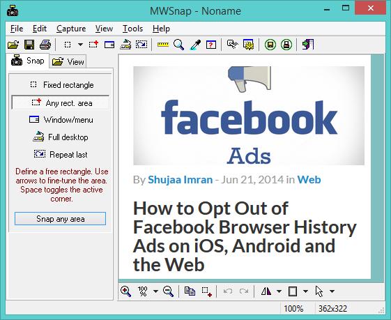 MWSnap - ein kostenloses Bildschirmaufnahme-Tool und -Editor für Windows