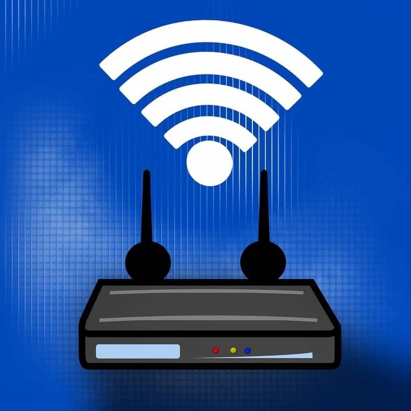 schwarzer Router auf blauem Hintergrund