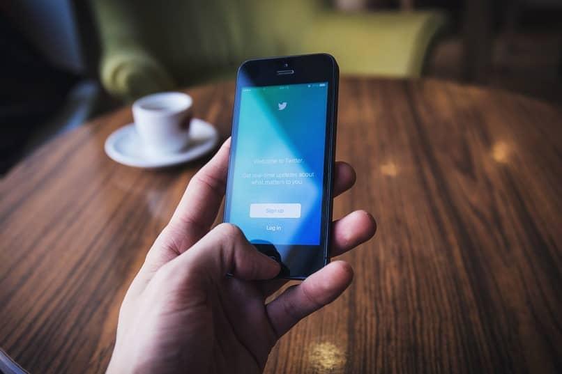 Handy mit der Twitter-App beim Login