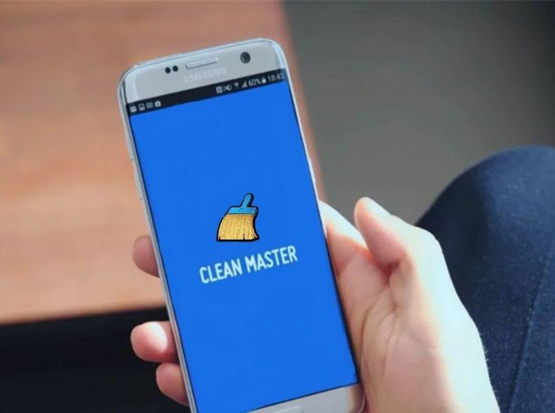 Handy Android sauber Master blau Hintergrund Hand Android Person unscharfen Hintergrund