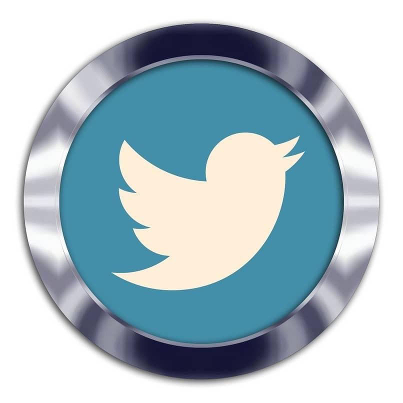 rundes Twitter-Logo mit Metallrand
