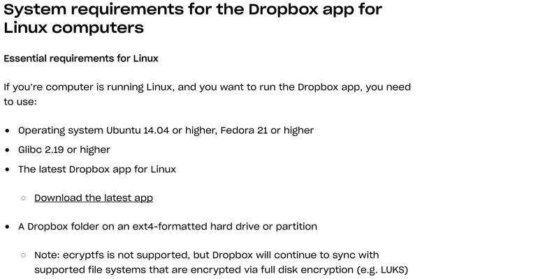 So verwenden Sie Dropbox auf einem Nicht-Ext4-Linux-Dateisystem