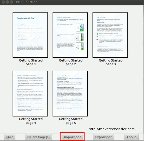 Teilen und Zusammenführen von PDF-Dateien mit PDF-Shuffler[Linux]